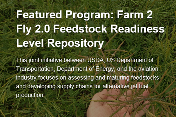 Featured Program: Farm 2 Fly 2.0 Feedstock Readiness Level Repository